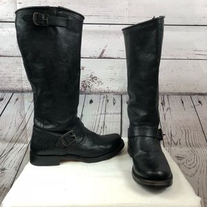 Frye Boots Veronica Slouch Moto Riding  Black